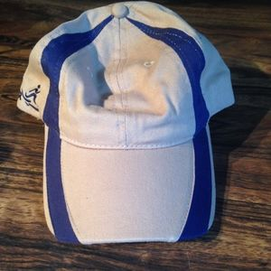 Tan and navy hat
